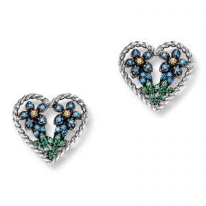 Mestergull Lekker ørepynt i rhodinert sølv med blå, grønne og gule cubic zirkonia VIVENTY Ørepynt