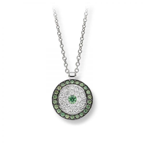 Mestergull Flott anheng i rhodinert sølv med hvite og grønne cubic zirkonia VIVENTY Anheng