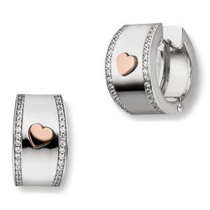 Mestergull Flotte øreringer i rhodinert sølv med hjerte i rosè forgylt sølv og med cubic zirkonia VIVENTY Ørepynt