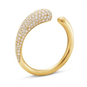 Mestergull Mercy sanselige og organisk ring i gult gull med diamanter- mini GEORG JENSEN Mercy Ring