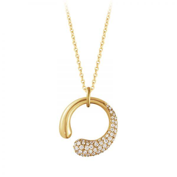 Mestergull Mercy organisk anheng i 18kt. gult gull med diamanter - small GEORG JENSEN Mercy Anheng