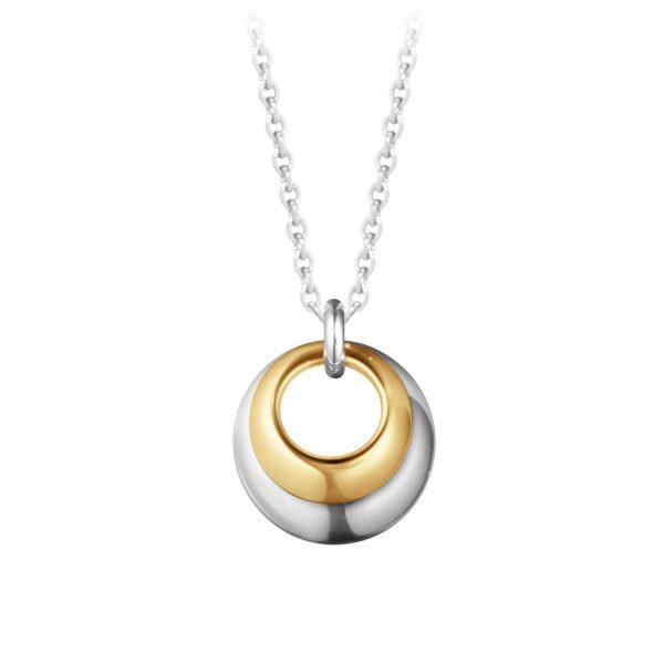Mestergull Curve anheng i 18kt. gult gull og sølv - det perfekte uttrykket til to kurver, en i sølv og den andre i gult gull GEORG JENSEN Curve Anheng