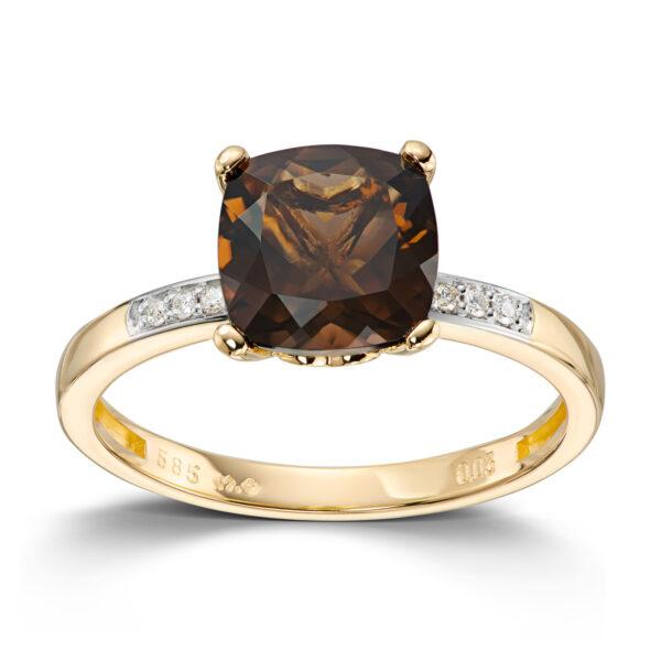 Mestergull Elegant ring i gult gull med røkkvarts og diamanter MESTERGULL Ring
