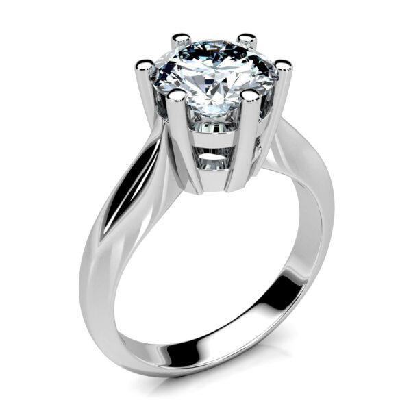 Mestergull Ring i hvitt gull med diamant 1,55 ct. HSI utviklet til kundens ørepynt. Ringen er i massiv utførelse og avrundet innvendig for god komfort på fingeren. DESIGN STUDIO Solitaire Ring