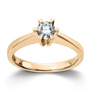 Mestergull Cinderella er en stram og lekker Solitaire modell, velg mellom diamanter i størrelser fra 0,10 ct. til 2,00 ct. CINDERELLA Ring