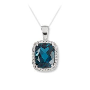 Mestergull Lekkert anheng i hvitt gull med London Blue Topas og diamanter MG DIAMONDS Anheng