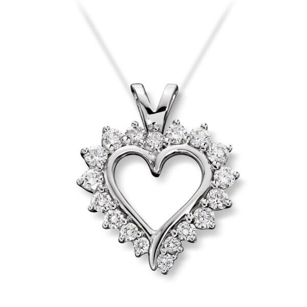 Mestergull Vakkert diamanthjerte i hvitt gull, Mestergull-hjertet er et av våre signatursmykker MG DIAMONDS Anheng