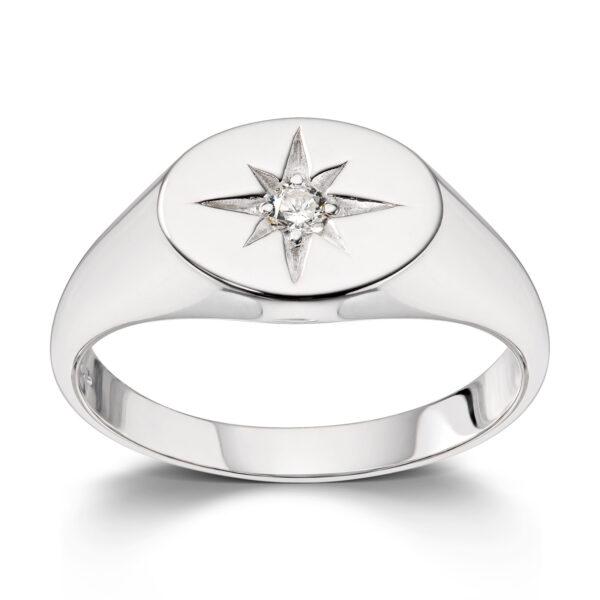 Mestergull Trendy signetring i rhodinert sølv med cubic zirkonia MESTERGULL Ring