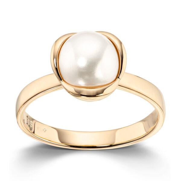Mestergull Delikat ring i gult gull med kulturperle MESTERGULL Ring
