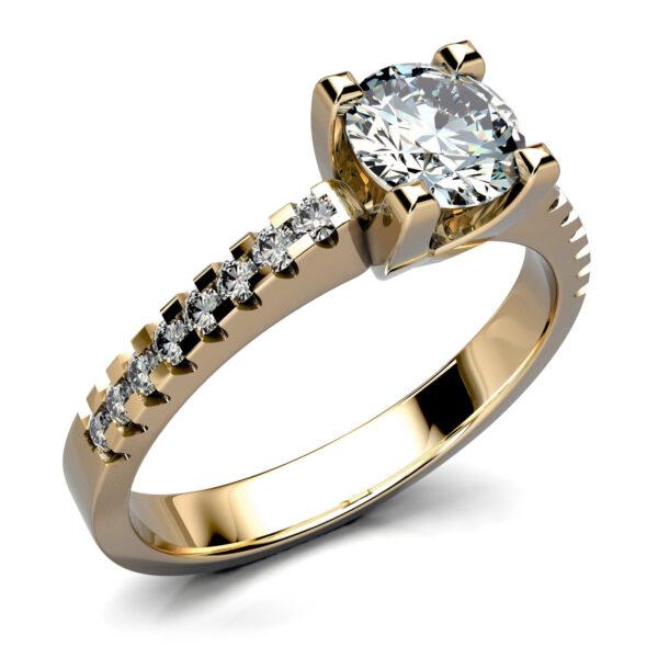 Mestergull Enstens ring med skulderfattede diamanter i gult gull 585. Hoveddiamanter er 0,54 ct. og 16 brillianter à 0,01 ct. er fattet på ringskinnen. Totalt 0,70 ct. HSI DESIGN STUDIO Solitaire Ring
