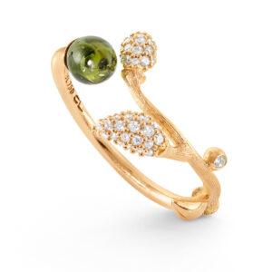 Mestergull Blooming ring i 18 kt. gult gull med grønn turmalin og 44 diamanter, toalt 0,18 ct. TwVs LYNGGAARD Blooming Ring