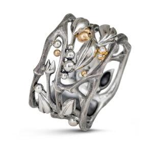 Mestergull Forest ring i sølv med noe gull detaljer. 2 diamanter, totalt 0,02ct TwVs LYNGGAARD Forest Ring
