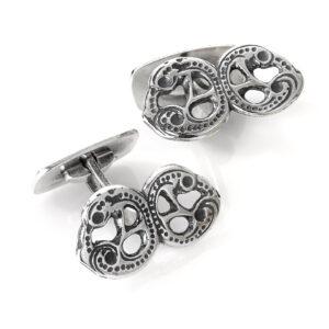 Mestergull Mansjettknapper i oksidert sølv til Romeriksbunaden ROMERIKSSLV Mansjettknapp