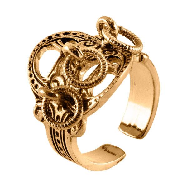 Mestergull Ring i forgylt sølv til Romeriksbunaden, produseres i to størrelser som lett lar seg regulere i fingerstørrelse ROMERIKSSLV Ring