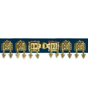 Mestergull Stoff Bunadsbelte blått, komplett til Romeriksbunaden, 20 støler pluss beltelåsen ROMERIKSSLV Belte