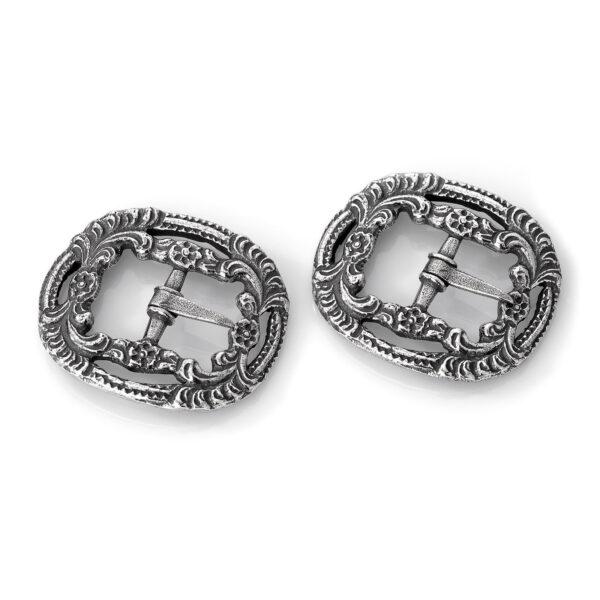 Mestergull Herre buksespenne i oksidert sølv til Romeriksbunaden, kopi av gammel modell ROMERIKSSLV Spenne