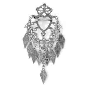 Mestergull Stor barnesølje i oksidert sølv til Romeriksbunaden ROMERIKSSLV Sølje