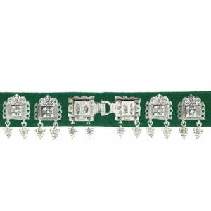 Mestergull Stoff Bunadsbelte mørk grønn, komplett til Romeriksbunaden, 20 støler pluss beltelåsen ROMERIKSSLV Belte