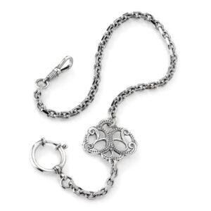 Mestergull Klokkekjede i oksidert sølv til Romeriksbunaden ROMERIKSSLV Kjede
