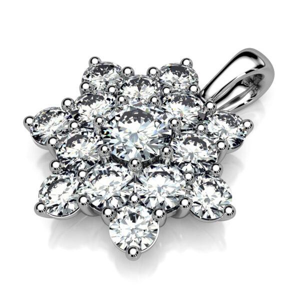 Mestergull Rosettanheng i hvitt gull 585 designet for kunde med 15 diamanter. Total vekt 1,58 ct. F VVS DESIGN STUDIO Spesialdesign Anheng