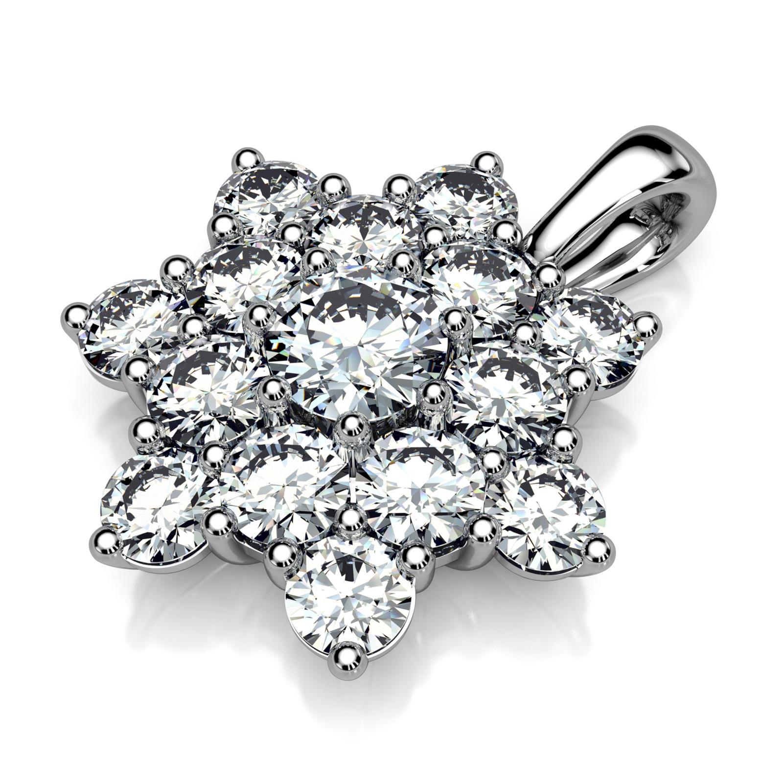 Mestergull Rosettanheng i hvitt gull 585 designet for kunde med 15 diamanter. Total vekt 1,54 ct. River VVS DESIGN STUDIO Spesialdesign Anheng