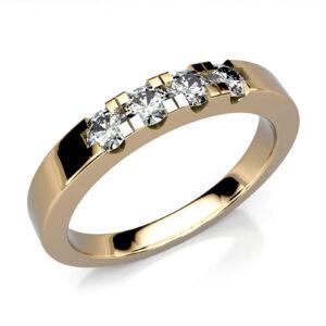 Mestergull Rekkering i gult gull 585 med 4 kundediamanter. Ringen er utført med et klassisk design i gult gull 585 DESIGN STUDIO Spesialdesign Ring