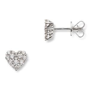 Mestergull Delikat hjerteørepynt i hvitt gull med diamanter MG DIAMONDS Ørepynt