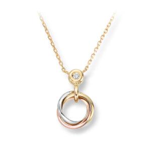 Mestergull Lekkert anheng i flerfarget gull med diamanter og inkludert kjede MESTERGULL Anheng