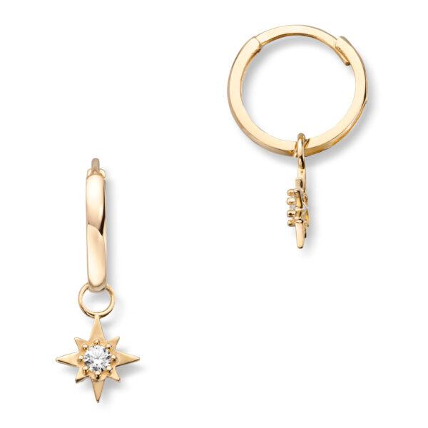 Mestergull Flotte øreringer i gult gull med stjerneheng og cubic zirkonia MESTERGULL Ørepynt