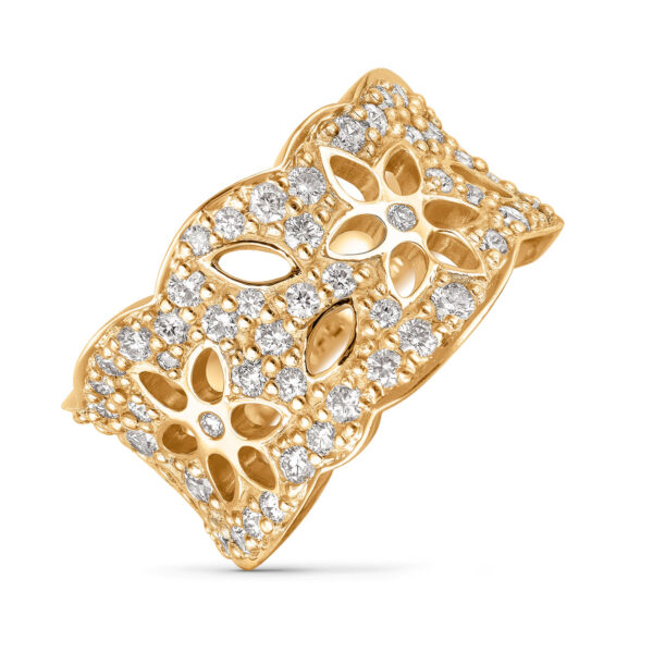 Mestergull Lace Ring medium i 18 kt. gult gull pavé med 63 diamanter totalt 1,13 ct. TwVs LYNGGAARD Lace Ring