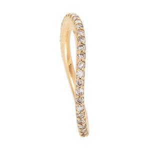 Mestergull Love Band buet rekkering i 18 K Gult gull med brune diamanter 0,40-0,47 ct. TwVs LYNGGAARD Love Ring