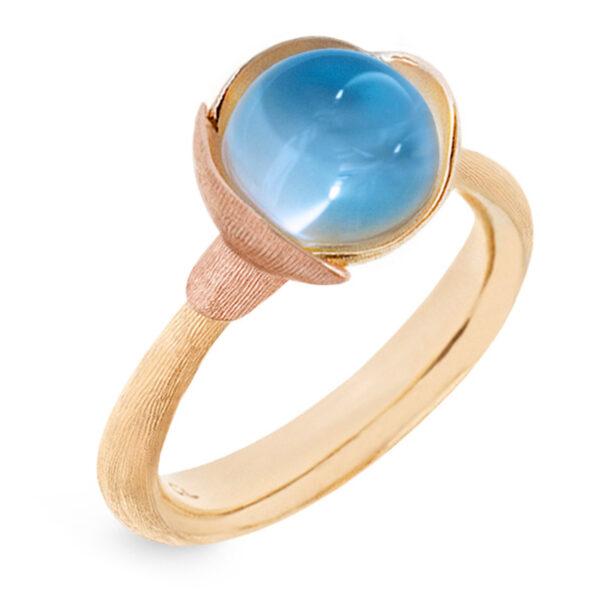 Mestergull Ring Lotus str. 1 i 18 K Gult gull med to blad i rosé gull - Sky blå topas LYNGGAARD Lotus Ring