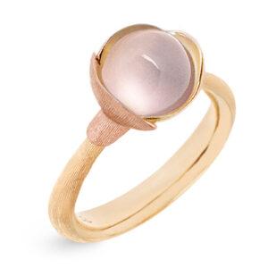 Mestergull Ring Lotus str. 1 i 18 K Gult gull med to blad i rosé gull - Rosenkvarts LYNGGAARD Lotus Ring