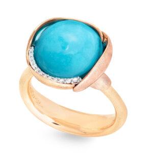 Mestergull Ring Lotus str. 3 i 18 K Gult gull med to blad i rosé gull -13 diamanter totalt 0,05 ct. TwVs - Turkis LYNGGAARD Lotus Ring