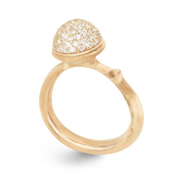 Mestergull Ring Lotus medium i 18 K Gult gull pavé med 76 diamanter totalt 0,40 ct TwVs LYNGGAARD Lotus Ring