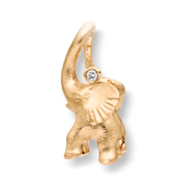 Mestergull My Little World charm elefant i 18 K Gult gull med 1 diamant 0,005 ct. TwVs inkl. Sort snor LYNGGAARD My Little World Charm