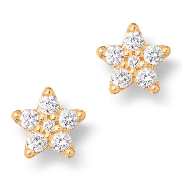 Mestergull Shooting Stars små ørepynt i 18kt. gult gull med 12 diamanter totalt 0,21 ct. TwVs LYNGGAARD Shooting Stars Ørepynt