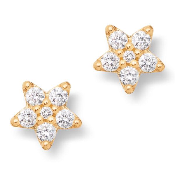 Mestergull Shooting Stars store ørepynt i 18 K Gultg gull med 12 diamanter totalt 0,54 ct. TwVs LYNGGAARD Shooting Stars Ørepynt