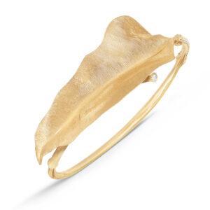 Mestergull Leaves armring i 18 kt. gult gull med 41 diamanter totalt 0,28 ct. TwVs (15, 16, 17, 18 cm) LYNGGAARD Leaves Armring