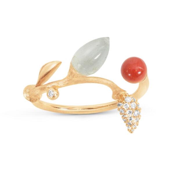 Mestergull Blooming ring i 18 K Gult gull Pavé blad med 25 diamanter totalt 0,10 ct. TwVs Rød korall og akvamarin LYNGGAARD Blooming Ring