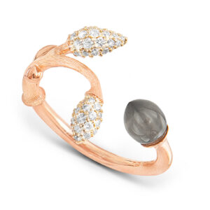 Mestergull Blooming ring i 18 kt. rosé gull 2 gult gull pavé blad med 44 diamanter totalt 0,18 ct. TwVs Grå månesten LYNGGAARD Blooming Ring