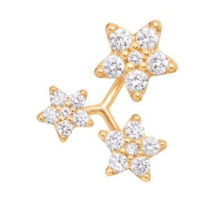 Mestergull Ørepynt 3 Shooting Stars i 18 kt. gult gull med 18 diamanter, totalt 0,19 ct. TwVs. Selges enkeltvis LYNGGAARD Shooting Stars Ørepynt
