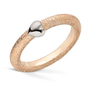 Mestergull Ring i gult gull med hvitt gull hjerte VAN BERGEN Silver Heart Ring