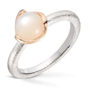 Mestergull Ring i sølv med gult gull og hvit månesten VAN BERGEN Blome Ring