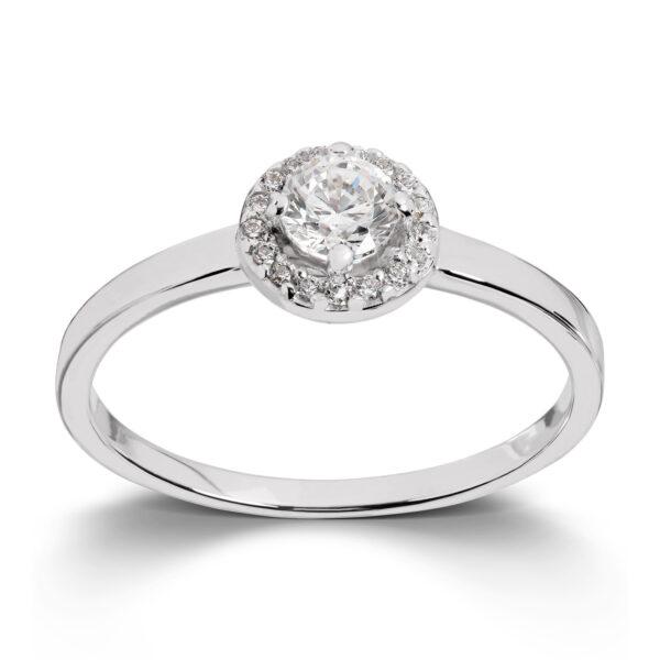 Mestergull Elegant ring i rhodinert sølv med cubic zirkonia GID Ring