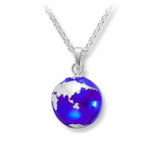 Mestergull Trendy anheng i sølv med blå emalje - jordklode GID Anheng