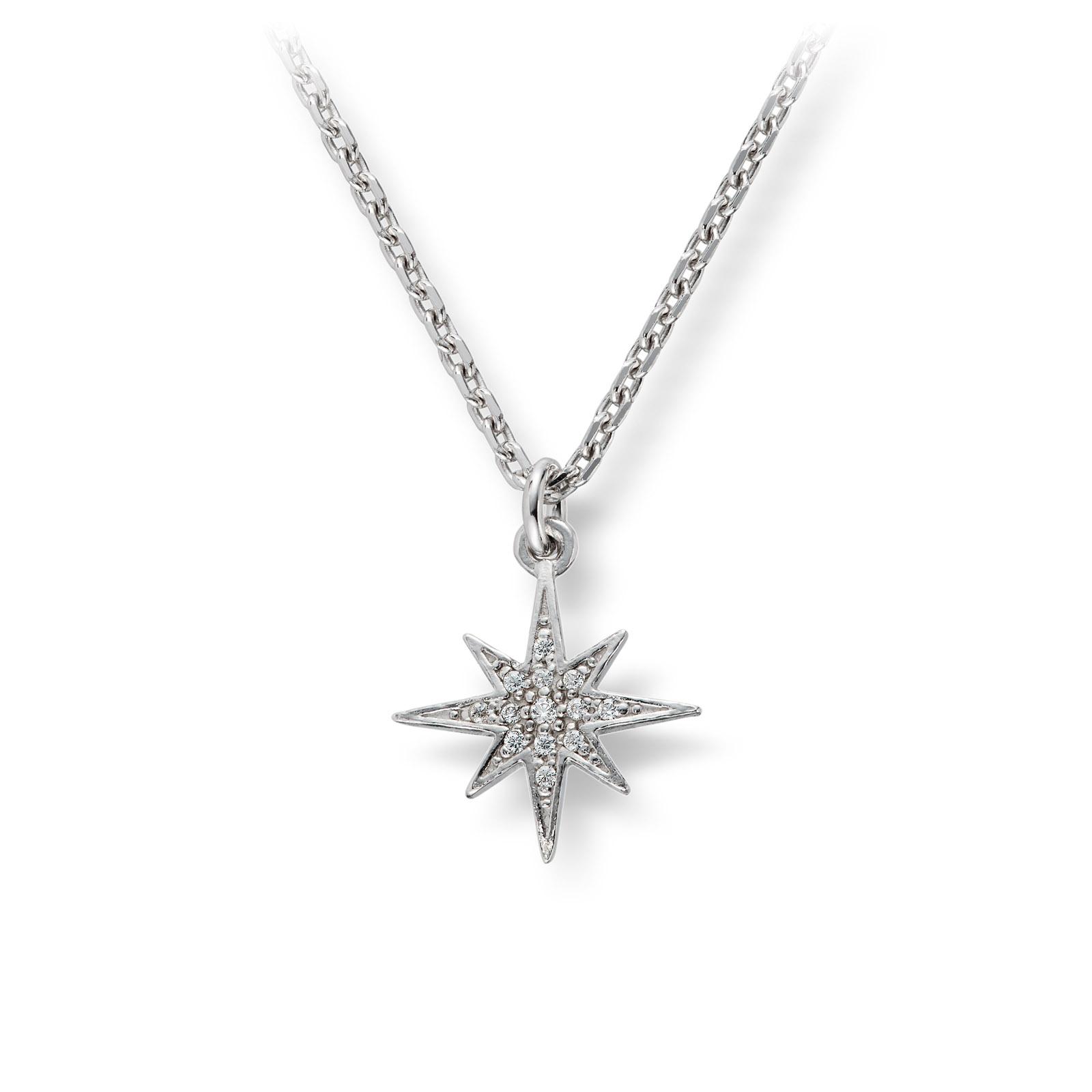 Mestergull Lekkert anheng i rhodinert sølv med cubic zirkonia- stjerne GID Anheng