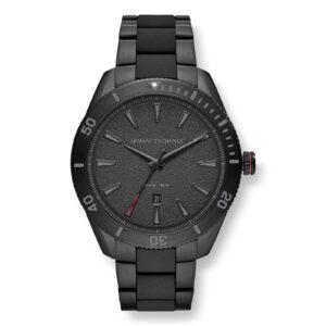 Mestergull Dette 46mm uret har en svart skive med svart pinne indekser, trehånds bevegelse og svart rustfritt stål armbånd med svart silikon innpakket midtkoblinger. ARMANI EXCHANGE Ur
