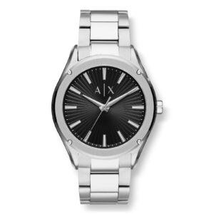 Mestergull Dette 44mm uret har en svart teksturert sunray skive med sølv pinne indekser, trehånds bevegelse og rustfritt stål armbånd. ARMANI EXCHANGE Ur