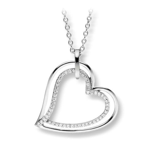 Mestergull Lekkert hjerteanheng i rhodinert sølv VIVENTY Anheng
